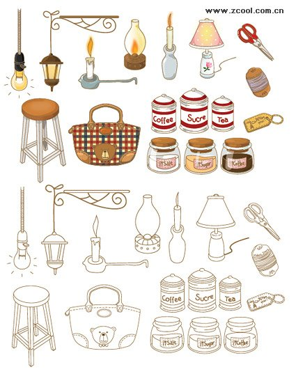 Hand-painted household goods icon