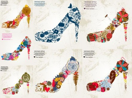 Vector flowers composed of high-heeled shoes