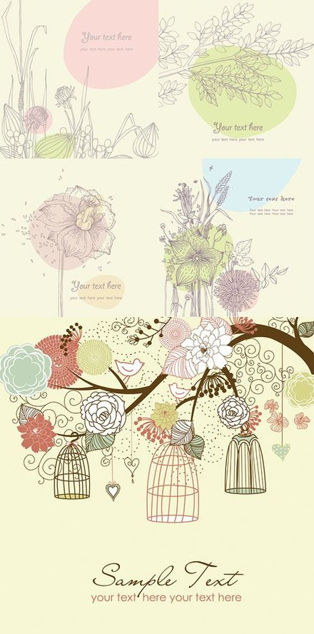 Vector lovely flowers plants