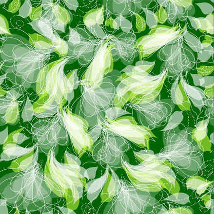 Green Floral Pattern Seamless Background