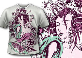 Free vector geisha t-shirt design