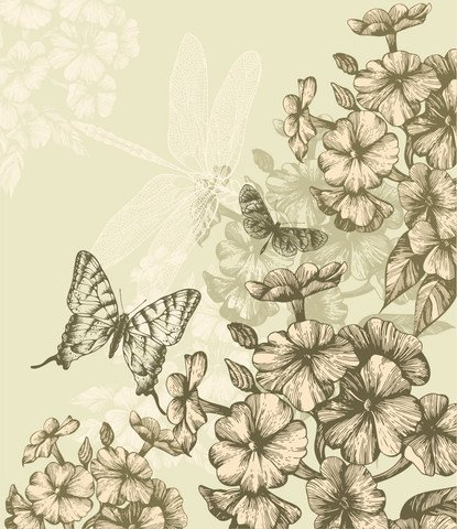 Classic hand-painted prints pattern vector-3