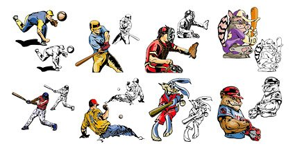 Baseball cartoon style