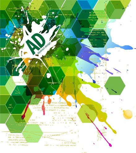 Abstract Hexagonal with Paint Splat