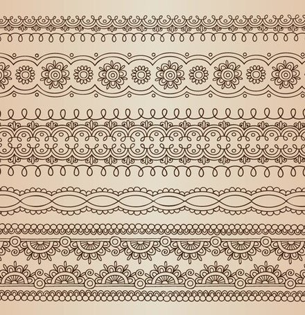 Horizontal Lace Borders Vector Set