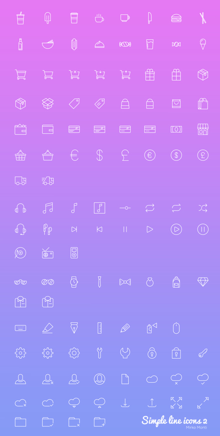 Simple Line Icons 2 - 100+ free icons