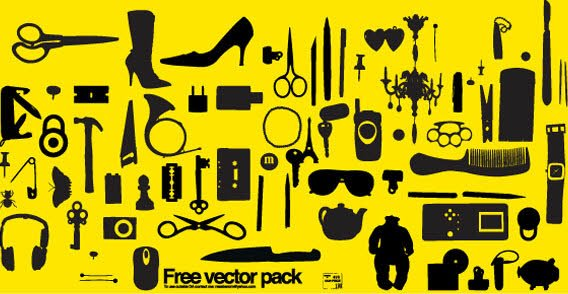 Mixed object free vector on yellow background