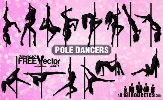 Pole dancers silhouettes