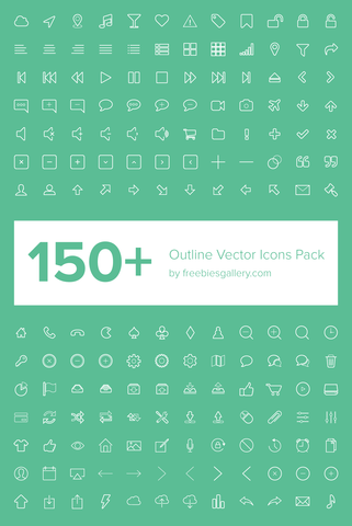 150+ Outline Vector Icons Pack