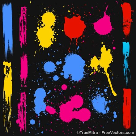 Colored Ink Splashes