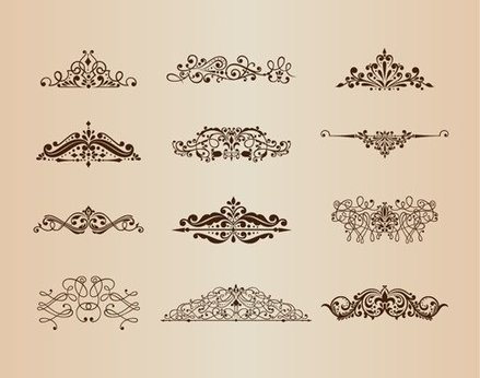 Vector Set of Vintage Ornaments with Floral Design Elements