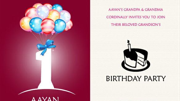1st Birthday Invitation Card Vector File For Free Download