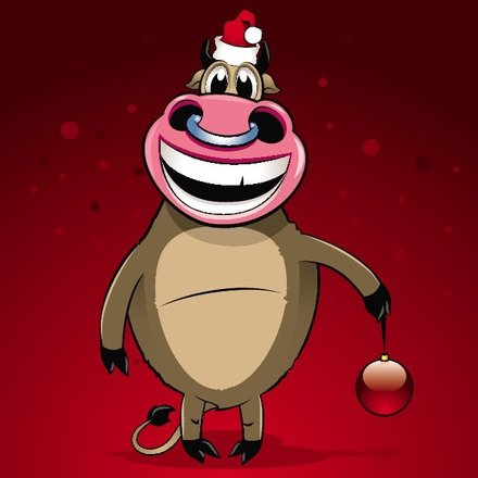 HAPPY CHRISTMAS BULL VECTOR.eps