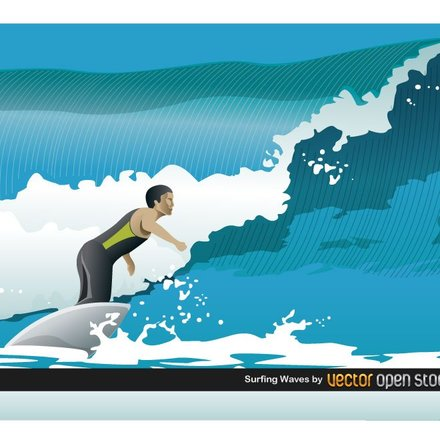 SURFING WAVES VECTOR ILLUSTRATION.ai