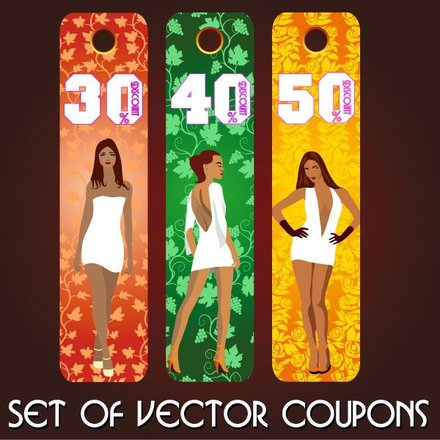 fashion label set of vector coupons
