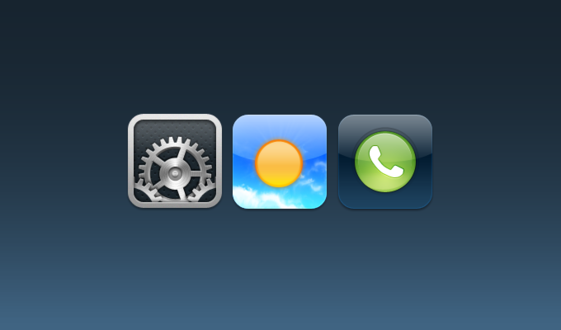 Settings, Weather, Phone iOS Icons