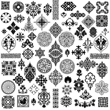 Ancient Style Pattern - Vector Material Ancient Patterns Side Flower