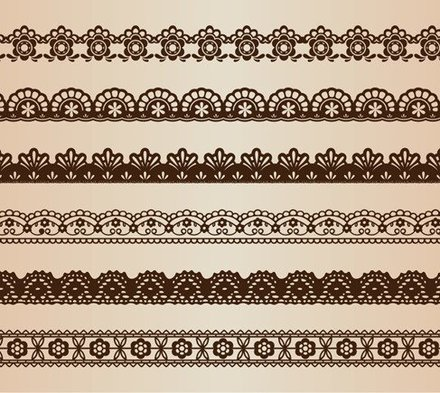 Vector Set of Retro Floral Lines