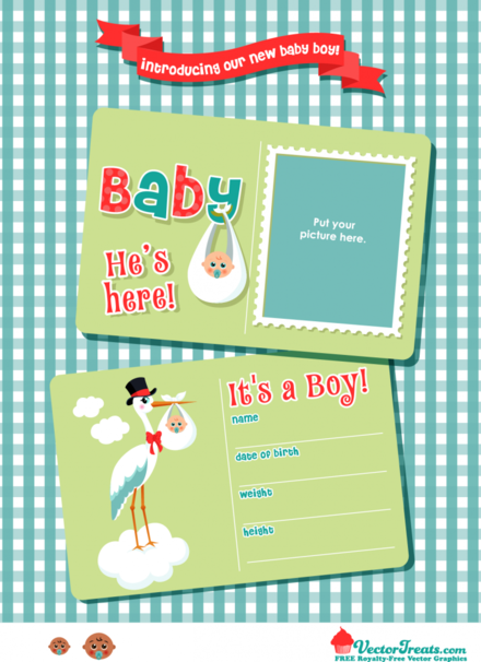 Free Vector Graphics to Introduce Your New Baby Boy