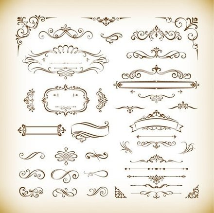 Classical Decorative Design Elements Vector Set