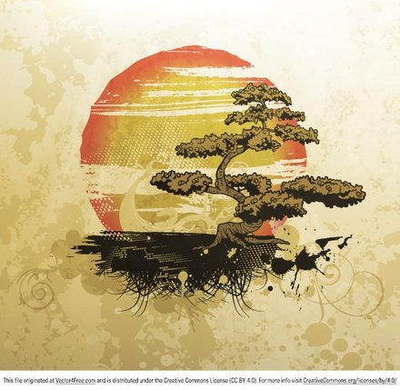 Free Vector Illustration with Bonsai