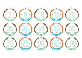 Colorful Anniversary Badge Vectors