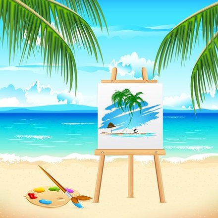 Artist canvas Summer beach