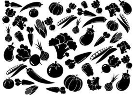 Black White Vegetables Pattern