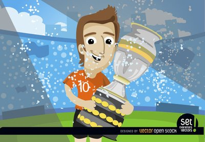 Footballer with soccer cup trophy