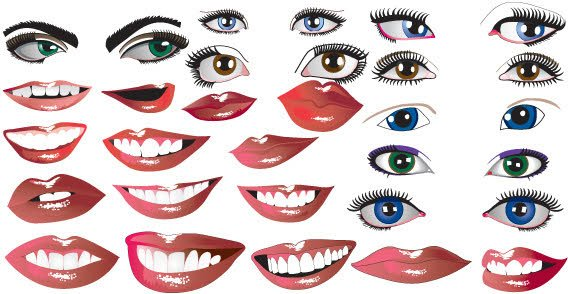 Lips and Eyes Vector Free Download