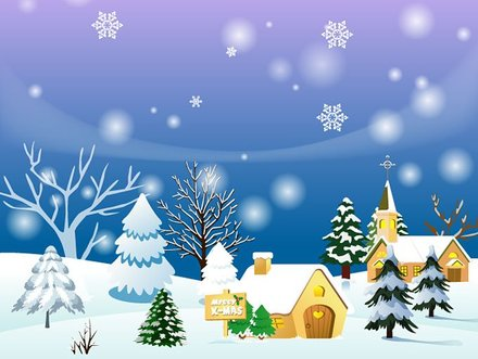 Christmas Town Background or Winter Landscape