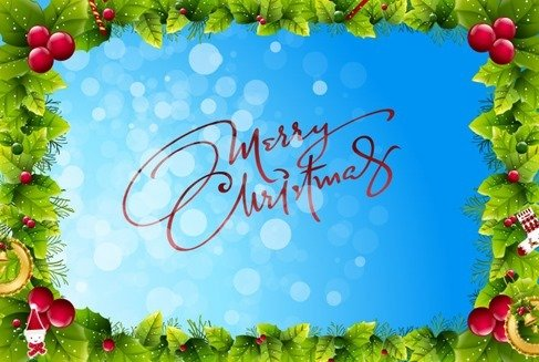 Christmas Frame on Blue Bokeh Background