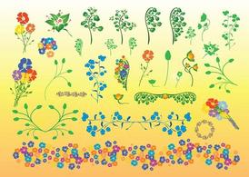 Beautiful Flowers Vector Illustrations