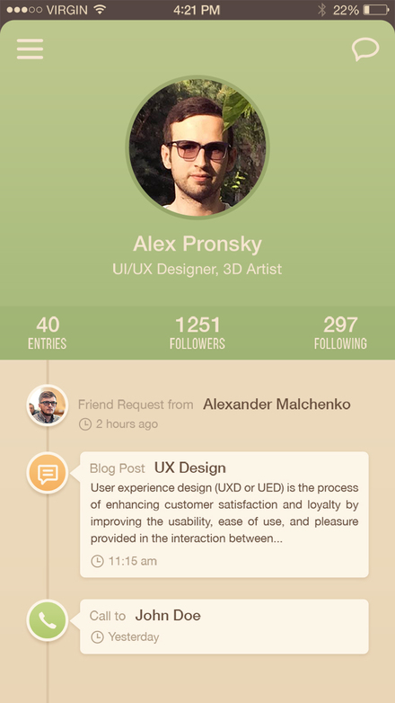 User Profile iPhone 6 App UI Freebie PSD