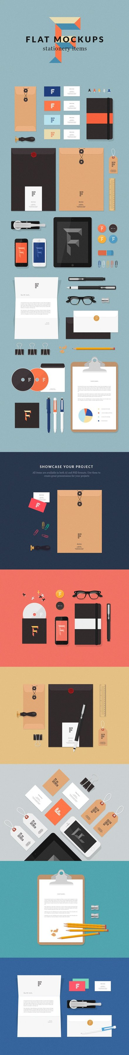 Flat MockUps - Stationery Items