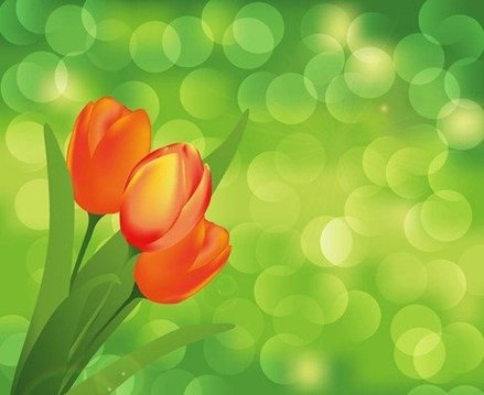 Flower with Green Background Vector Art
