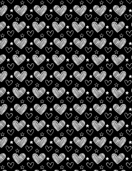 Hand drawn sketched hearts and stars seamless pattern