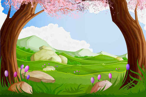Green Cartoon Landscapes