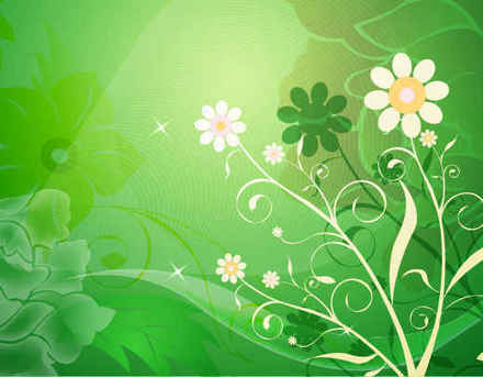Abstract Flower Green Background