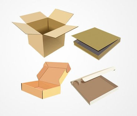 Open Cardboard Box Vector Set (Free)