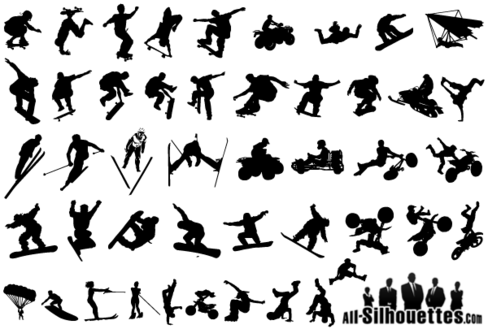 Extreme Sports Silhouettes Vector Free