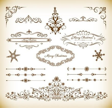 Christmas Decoration Floral Elemenets Vector Collection
