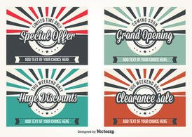 Promotional Retro Style Vector Labels