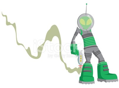 Alien,Laser Gun,UFO,Smoke - Physical Structure,Green Color,Vector Cartoons,Space,Illustrations And Vector Art