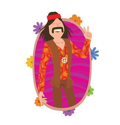 Oval Frame Man Hippie With Long Black Hair And Mustache Stock