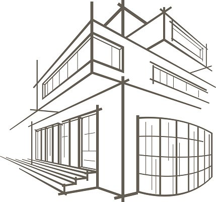 Architectural Linear Sketch Modern Building On White Background