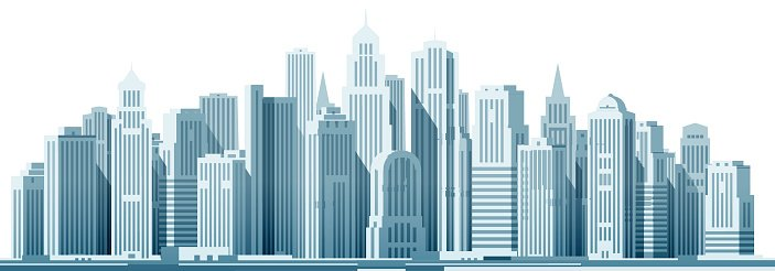 modern city with construction  building vector skyline clip art outline free skyline clip art black and white