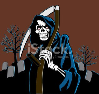 Grim Reaper,Human Skull,Depression - Sadness,Human Skeleton,Tombstone,Halloween,Cemetery,Death,Grave,Spooky,sythe,morbid,Tree,Eternity,Illustrations And Vector Art,Character Traits,Concepts And Ideas,one two three four,carved letters,handcarves