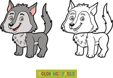 Child,Preschool Age,Horizontal,Characters,Animal,Book,Activity,Coloring,Toy,Illustration,Nature,Zoo,Leisure Games,Outline,Coloring Book,Education,Wolf,Bleached,Forest,Bleached,Preschool,Page,Vector,Preschool Building,White Color,Black Color