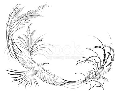 Victorian Calligraphy Dove With Olive Branch Stock Vectors